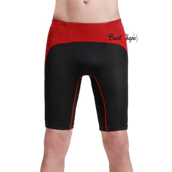 กางเกงออกกำลังกายผู้ชาย-Men-Fitness-สีดำคาดแดง_MFBSHTB_1