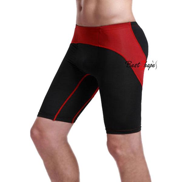 กางเกงออกกำลังกายผู้ชาย-Men-Fitness-สีดำคาดแดง_MFBSHTB_2
