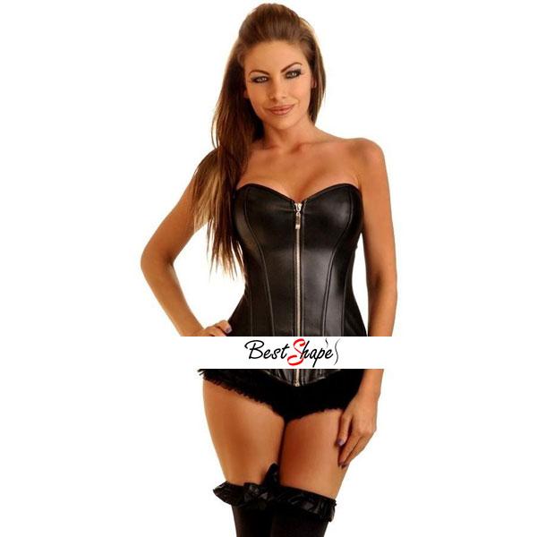 คอร์เซ็ท-Corset-สีดำแบบหนังเรียบ-รุ่นซิปหน้า_CBLZ14011_1
