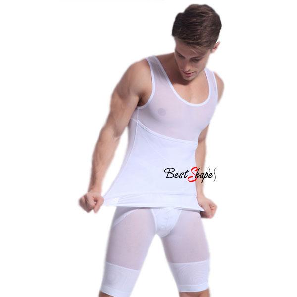 เสื้อกล้ามกระชับสัดส่วนผู้ชาย-เก็บพุง-เก็บหน้าท้องรุ่นปลอกเอว-MVH1407-W-1