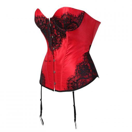 Corset คอร์เซ็ท เกาะอกสีแดง ผ้าซาติน แต่งผ้าลูกไม้